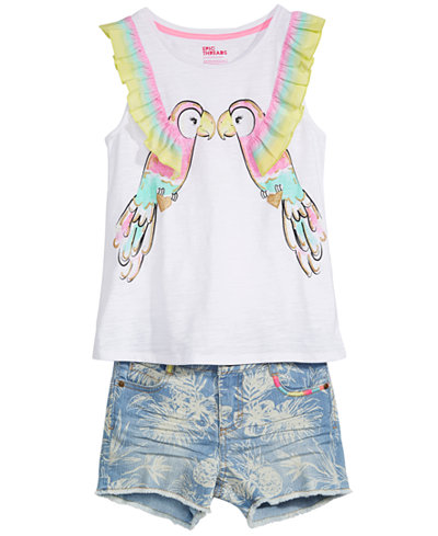 Epic Threads Big Girls Parrot Tank Top & Printed Denim Shorts, Created for Macy's