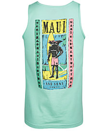 Maui and Sons Men's Woodcut Sharkman Logo-Print Tank