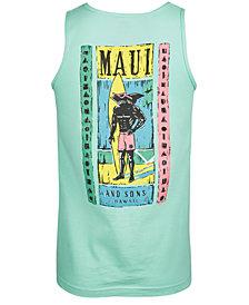 Maui and Sons Men's Woodcut Sharkman Logo-Print Tank