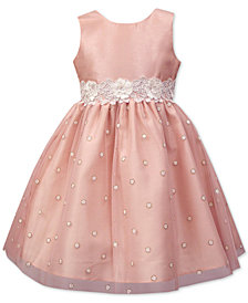 Jayne Copeland Little Girls Floral-Trim Glitter Dot Dress