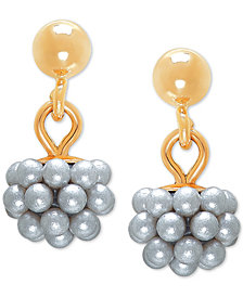 Imitation Pearl Cluster Drop Earrings in 14k Gold