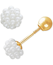 Imitation Pearl Cluster & Gold Ball Front & Back Earrings in 14k Gold