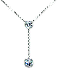 "Giani Bernini Cubic Zirconia Bezel Lariat Necklace, 18"" + 3"" Extender, Created for Macy's"