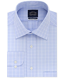 Eagle Men's Classic/Regular Fit Non-Iron Flex Collar Performance Blue Check Dress Shirt