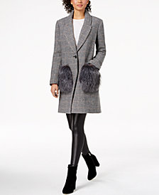 Kendall + Kylie Faux-Fur-Pocket Houndstooth Coat