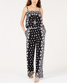 I.N.C. Petite Printed Blouson Jumpsuit, Created for Macy's