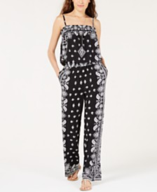 I.N.C. Printed Popover Jumpsuit, Created for Macy's