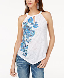 I.N.C. Printed Pointed-Hem Top, Created for Macy's