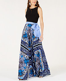 I.N.C. Printed Contrast Maxi Dress, Created for Macy's