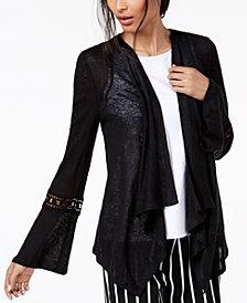 I.N.C. Crochet-Sleeve Linen Cozy, Created for Macy's