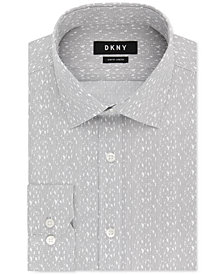 DKNY Men's Slim-Fit Performance Stretch Gray & White Print Dress Shirt