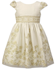 Jayne Copeland Toddler Girls Floral Embroidered Satin Dress