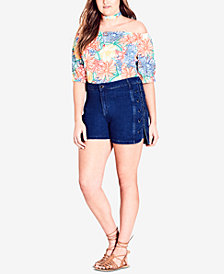 City Chic Trendy Plus Size Lace-Up Denim Shorts