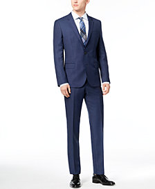 HUGO Men's Slim-Fit Blue Birdseye Suit