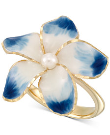 Cultured Freshwater Pearl (3mm) & Ceramic Flower Statement Ring in 14k Gold