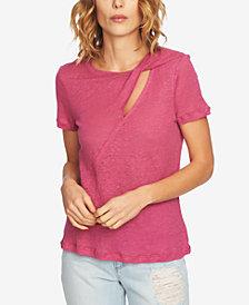 1.STATE Linen Cutout T-Shirt