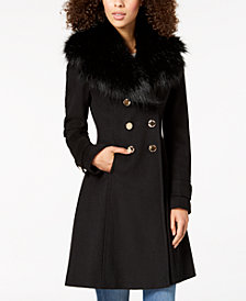 Ivanka Trump Double-Breasted Faux-Fur-Collar Coat