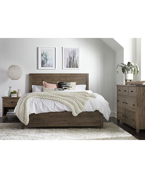 the naturally beautiful taupe wire brushed washed finish with grey undertones of this solid acacia bedroom collection highlight its natural knots offering - Platform Bedroom Sets
