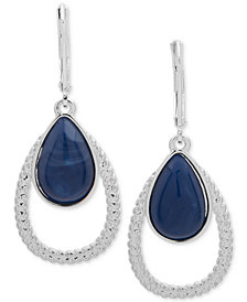 Nine West Silver-Tone & Stone Textured Orbital Drop Earrings