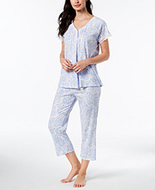 Miss Elaine Printed Lace-Trim Short-Sleeve Pajama Set