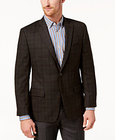 Michael Kors Men's Classic-Fit Brown/Red Plaid Sport Coat