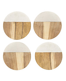 Cathy's Concepts 4-Pc. Personalized Marble & Acacia Wood Coaster Set