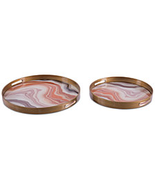 Zuo Mundi 2-Pc. Orange Agate-Patterned Tray Set