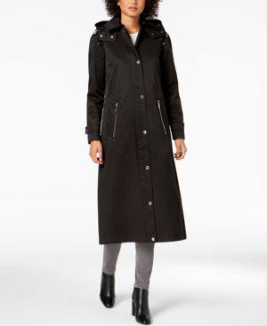 Hooded Maxi Rain Jacket, Black
