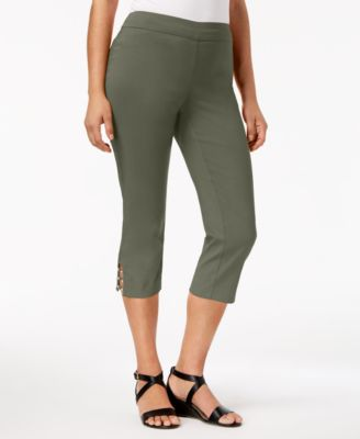 Pull-On Lattice-Inset Capri Pants, Created for Macy's