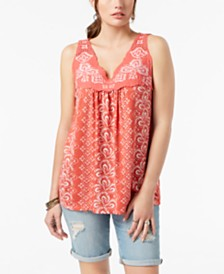 Style & Co Embroidered Sleeveless Top, Created for Macy's