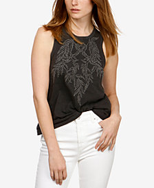 Lucky Brand Cotton Embroidered Ruched Tank Top