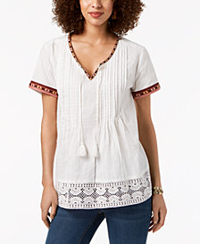 Style & Co Cotton Crochet-Trim Top, Created for Macy's