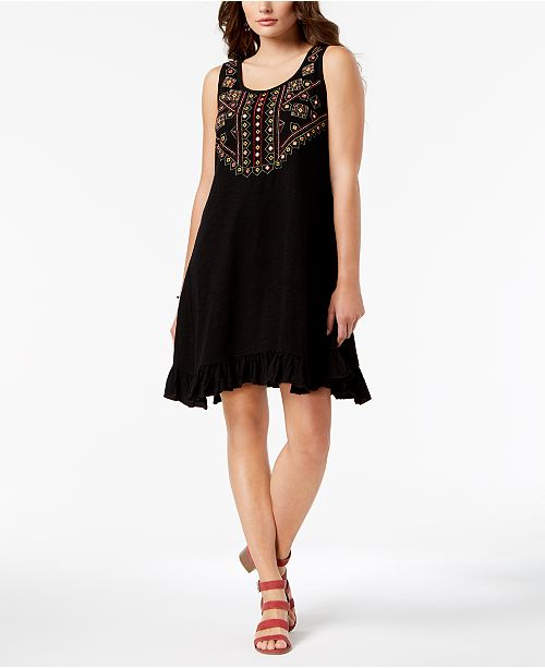Cotton Style Embroidered Deep amp; Black Macy's Created A Dress Co for line w6S1q6E
