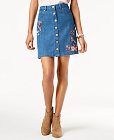 One Hart Juniors' Embroidered Button-Front Denim Skirt, Created for Macy's