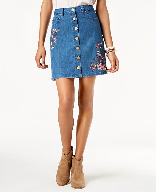 cd366f8437 ... One Hart Juniors' Embroidered Button-Front Denim Skirt, Created for  Macy's ...