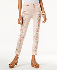 One Hart Juniors' Printed & Frayed Skinny Jeans, Created for Macy's