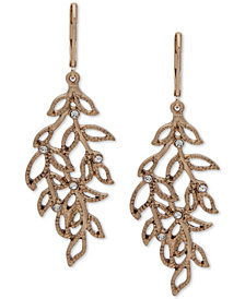 lonna & lilly Gold-Tone Pavé Leaf Chandelier Earrings