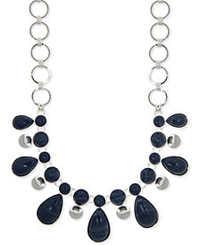 "Nine West Silver-Tone Stone Statement Necklace, 16"" + 2"" extender"
