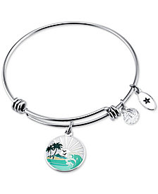 "Unwritten ""Chase the Sunset"" Enamel Charm Bangle Bracelet in Stainless Steel"