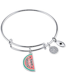 "Unwritten ""You're One in a Melon"" Enamel Bangle Bracelet in Stainless Steel"