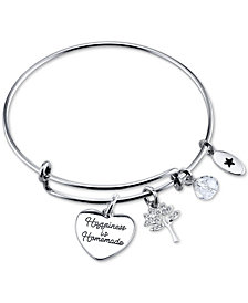 "Unwritten ""Happiness is Homemade"" Charm Bangle Bracelet in Stainless Steel"