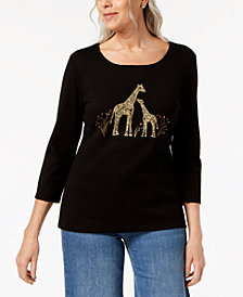 Karen Scott Petite Cotton Giraffe Graphic Top, Created for Macy's