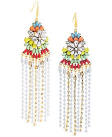 Steve Madden Two-Tone Multi-Stone Flower & Fringe Chandelier Earrings