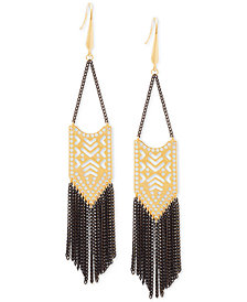Steve Madden Two-Tone Geometric Chain Fringe Chandelier Earrings