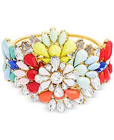 Steve Madden Gold-Tone Stone & Crystal Floral Bangle Bracelet