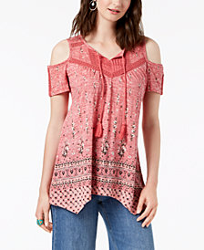 Style & Co Tasseled Peasant Top, Created for Macy's