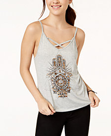 Pretty Rebellious Juniors' Hamsa Metallic Graphic Tank Top