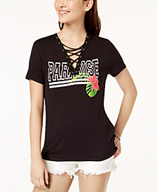 Pretty Rebellious Juniors' Lace-Up Graphic T-Shirt
