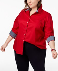 Tommy Hilfiger Plus Size Heritage Cotton Utility Shirt, Created for Macy's