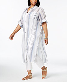 Calvin Klein Plus Size Cotton Striped Crinkle Shirt